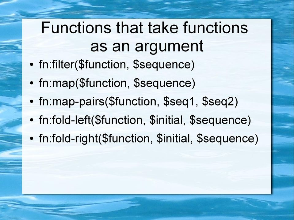 $sequence) fn:map-pairs($function, $seq1, $seq2)