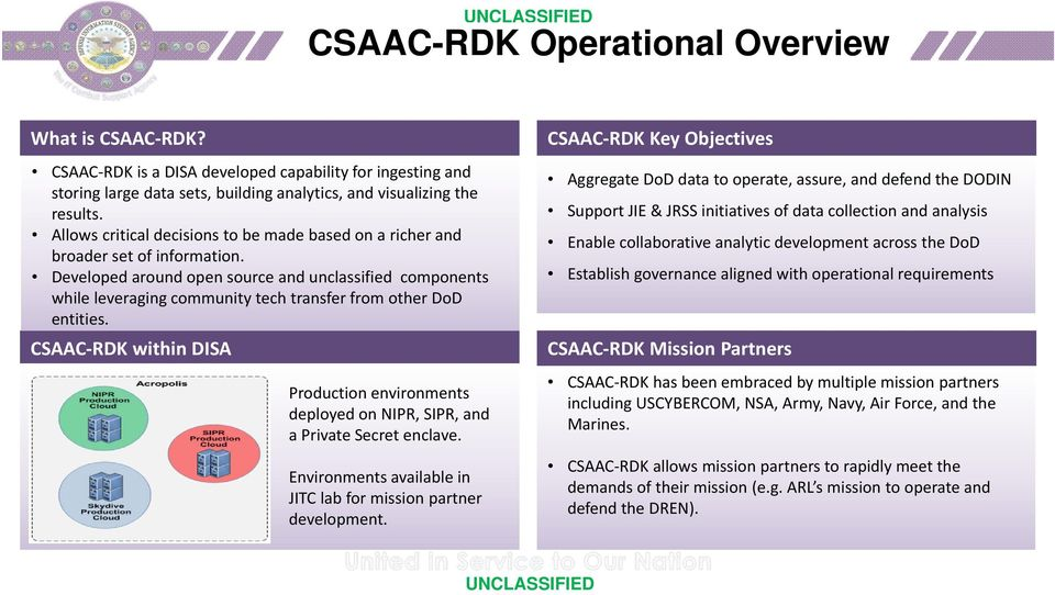 Developed around open source and unclassified components while leveraging community tech transfer from other DoD entities.