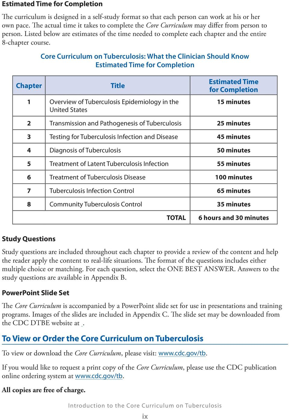 Core Curriculum on Tuberculosis: What the Clinician Should Know Estimated Time for Completion Chapter Title 1 Overview of Tuberculosis Epidemiology in the United States Estimated Time for Completion