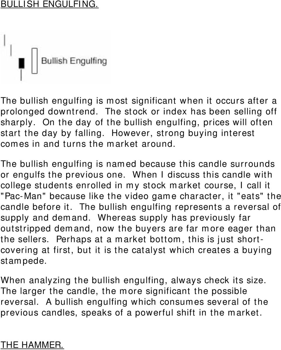 The bullish engulfing is named because this candle surrounds or engulfs the previous one.