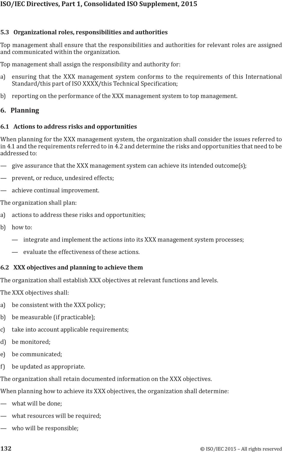 Top management shall assign the responsibility and authority for: a) ensuring that the XXX management system conforms to the requirements of this International Standard/this part of ISO XXXX/this