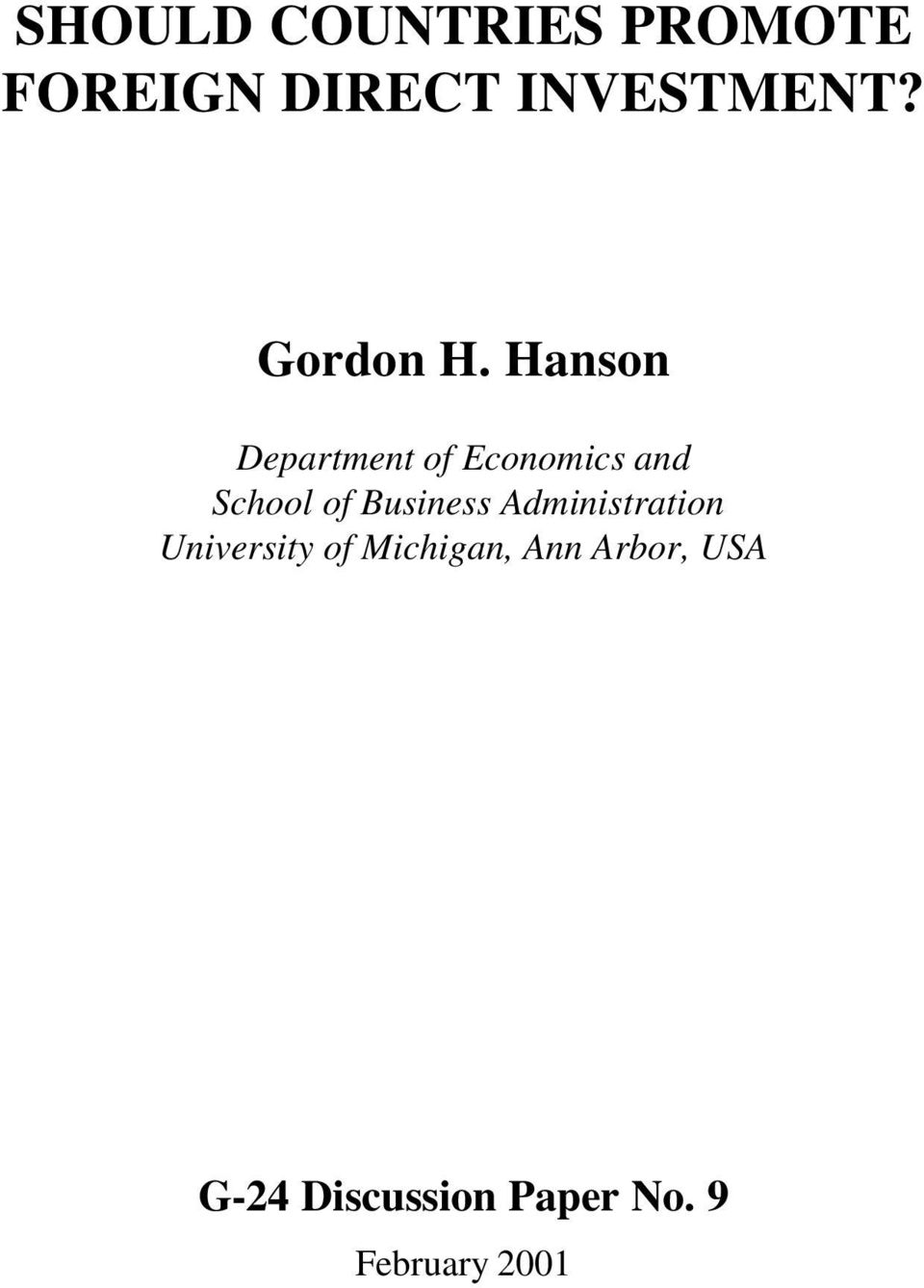 Hanson Department of Economcs and School of