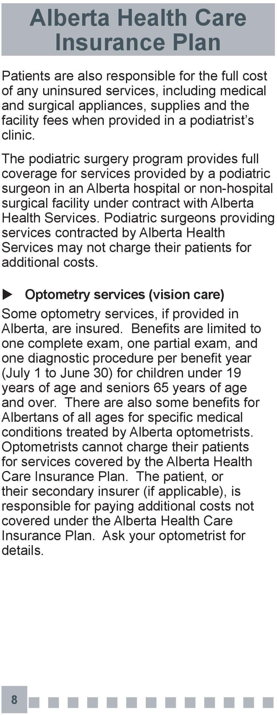 Podiatric surgeons providing services contracted by Alberta Health Services may not charge their patients for additional costs.