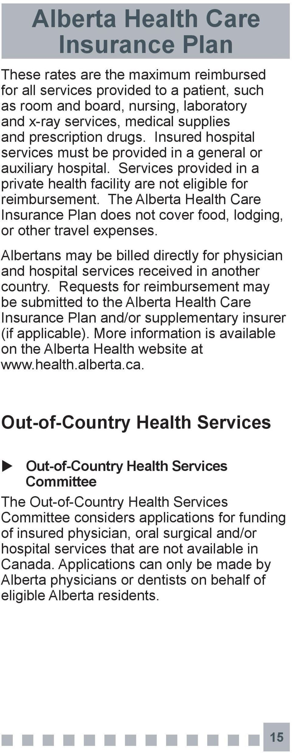 The Alberta Health Care does not cover food, lodging, or other travel expenses. Albertans may be billed directly for physician and hospital services received in another country.