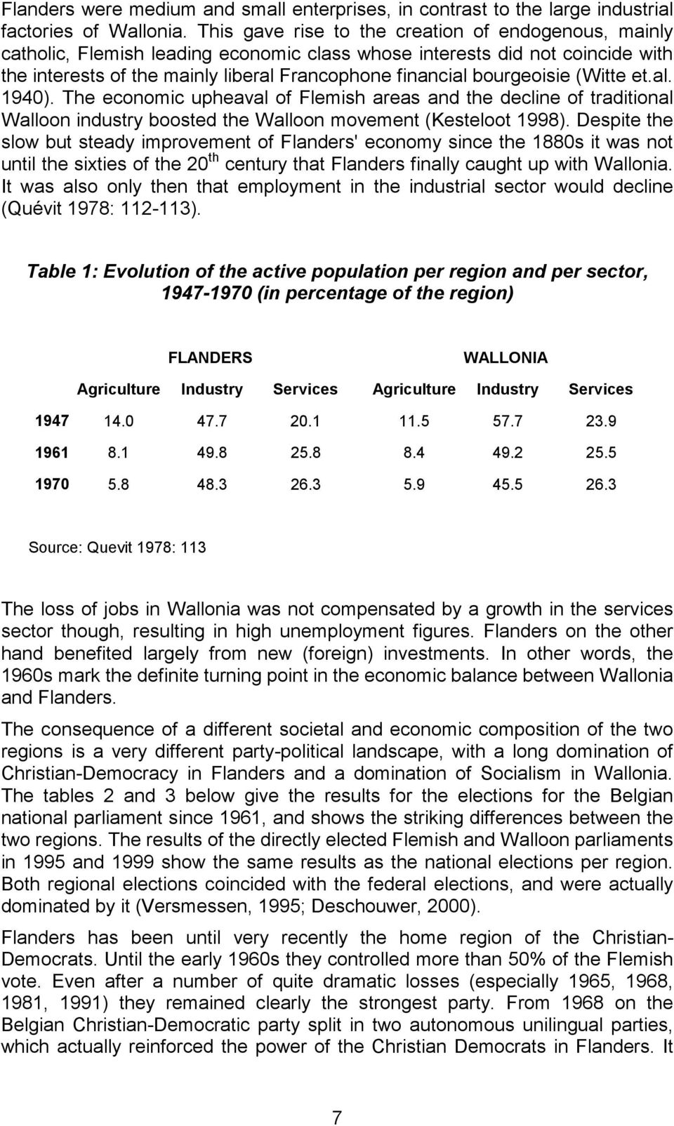 bourgeoisie (Witte et.al. 1940). The economic upheaval of Flemish areas and the decline of traditional Walloon industry boosted the Walloon movement (Kesteloot 1998).