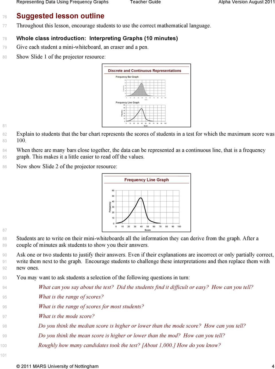 Show Slide 1 of the projector resource: Discrete and Continuous Representations Bar Graph Line Graph 6 5 3 81 82 83 84 85 86 Explain to students that the bar chart represents the scores of students