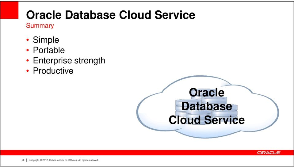Oracle Database Cloud Service 20 Copyright