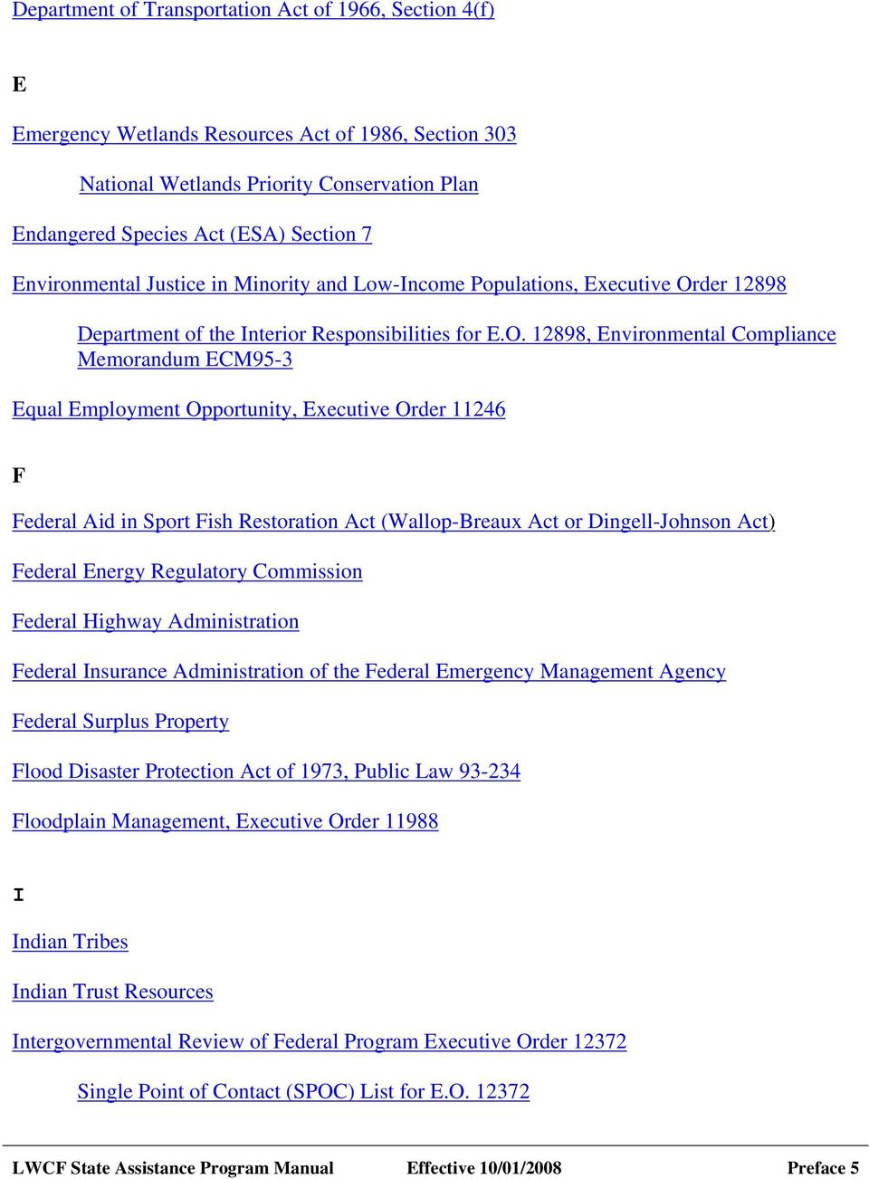 der 12898 Department of the Interior Responsibilities for E.O.