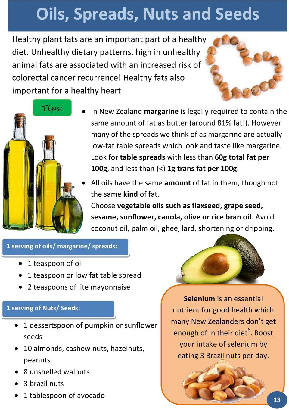 Healthy fats also important for a healthy heart Tips: In New Zealand margarine is legally required to contain the same amount of fat as butter (around 81% fat!).