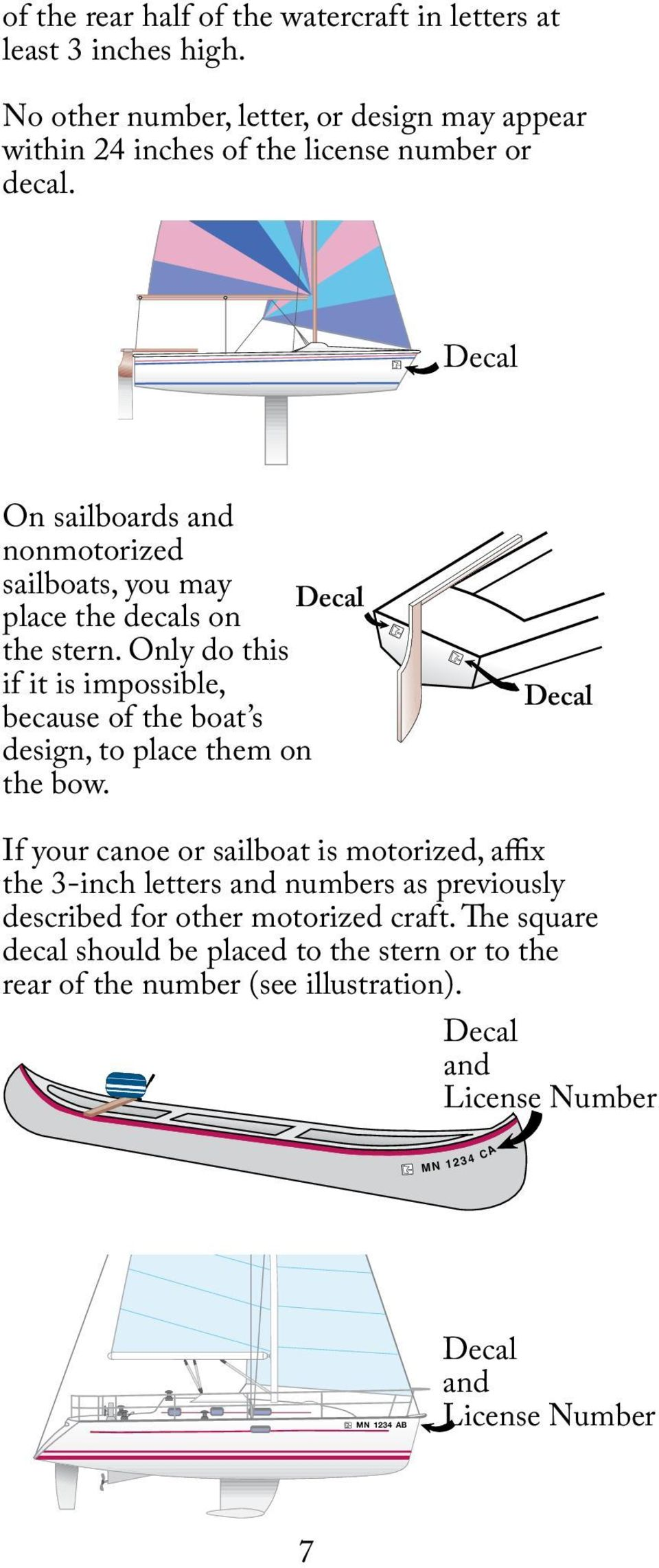 Decal On sailboards and nonmotorized sailboats, you may Decal place the decals on the stern.