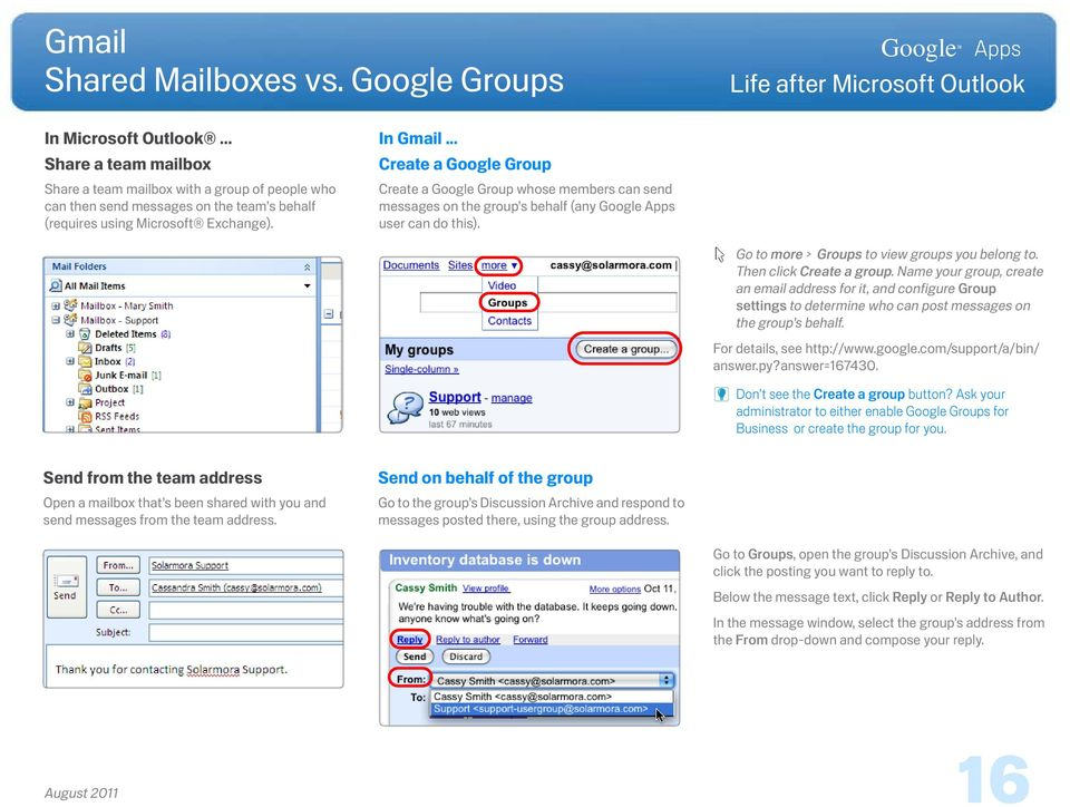 Name your group, create an email address for it, and configure Group settings to determine who can post messages on the group s behalf. For details, see http://www.google.com/support/a/bin/ answer.py?