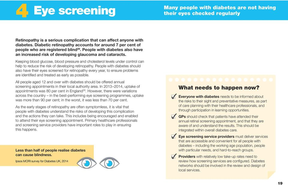 Keeping blood glucose, blood pressure and cholesterol levels under control can help to reduce the risk of developing retinopathy.