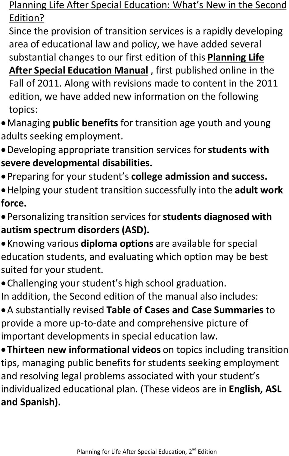 Special Education Manual, first published online in the Fall of 2011.