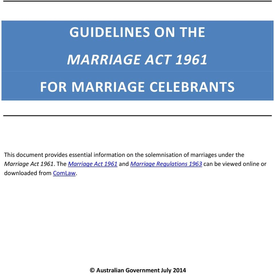 Marriage Act 1961.