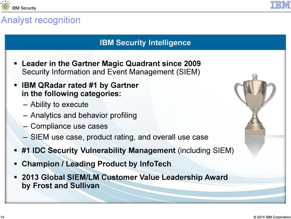 profiling Compliance use cases SIEM use case, product rating, and overall use case #1 IDC Security Vulnerability