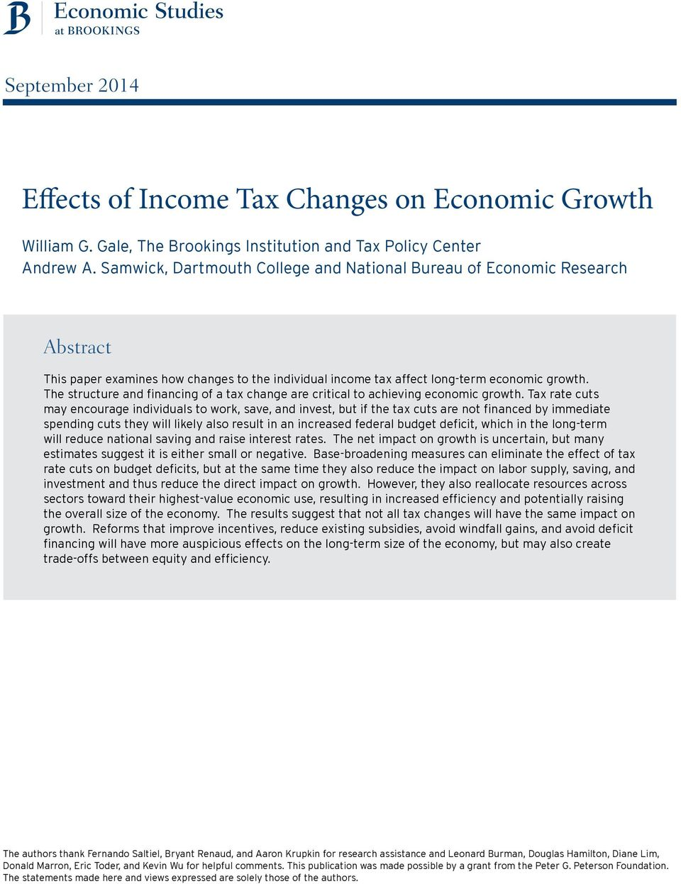 The structure and financing of a tax change are critical to achieving economic growth.