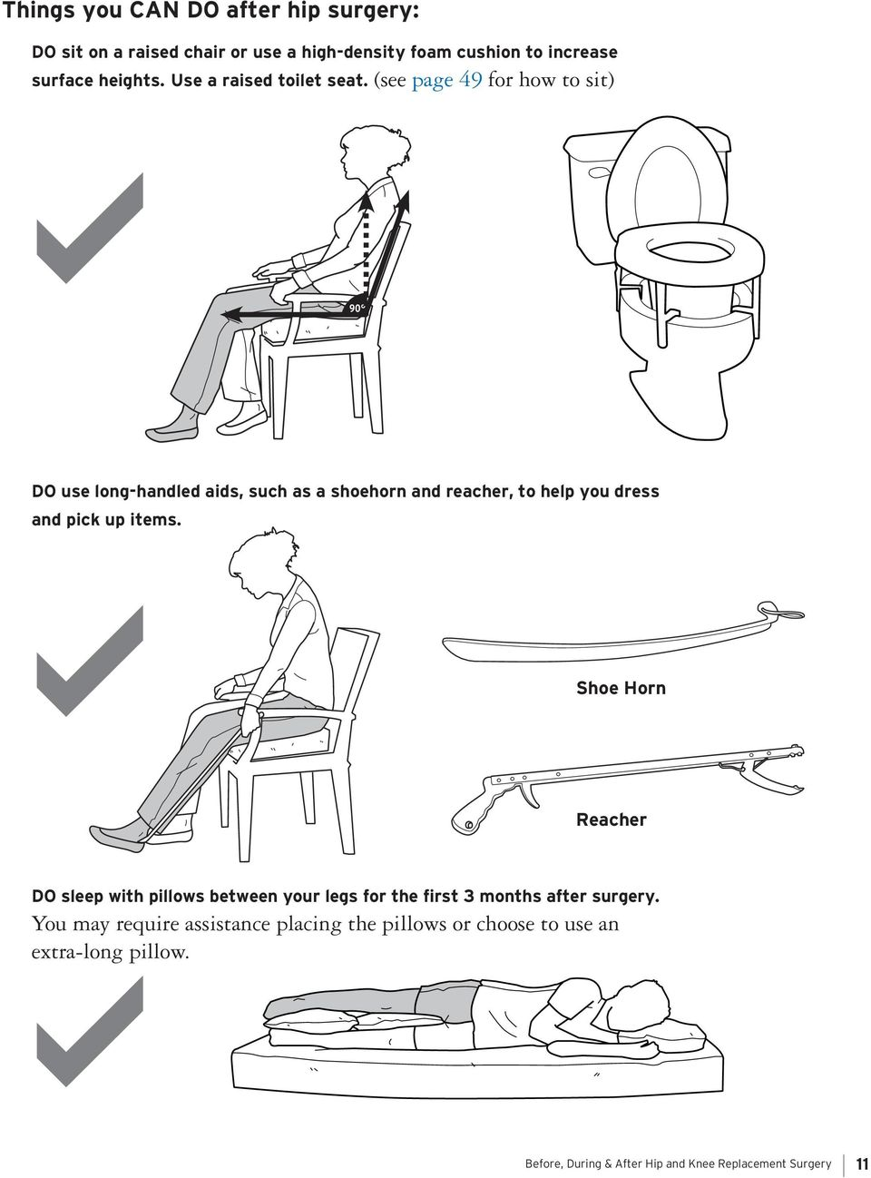 (see page 49 for how to sit) 90 DO use long-handled aids, such as a shoehorn and reacher, to help you dress and