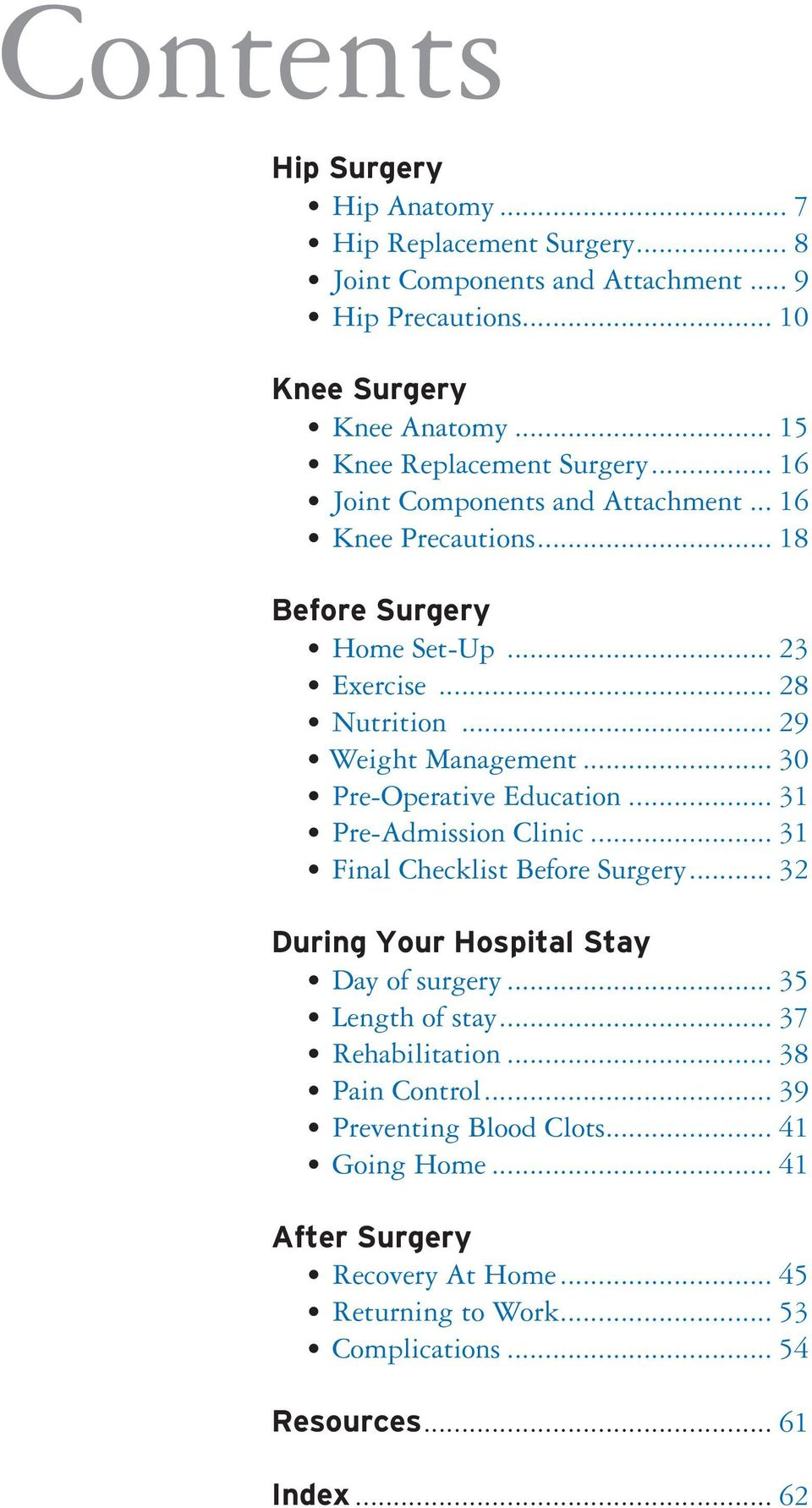 .. 29 Weight Management... 30 Pre-Operative Education... 31 Pre-Admission Clinic... 31 Final Checklist Before Surgery... 32 During Your Hospital Stay Day of surgery.