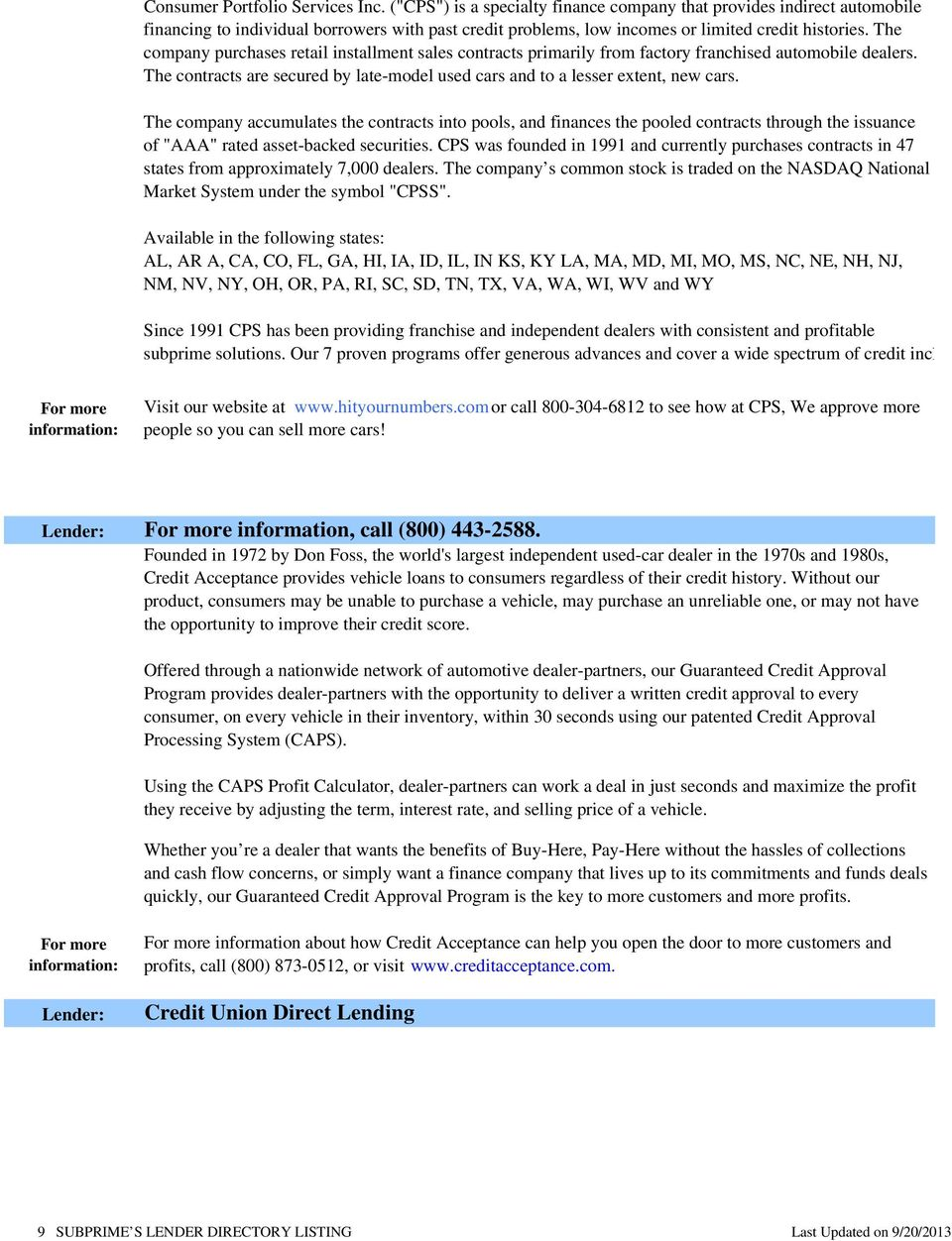 Lender Directory Listing PDF – Used Car Sales Contract Template