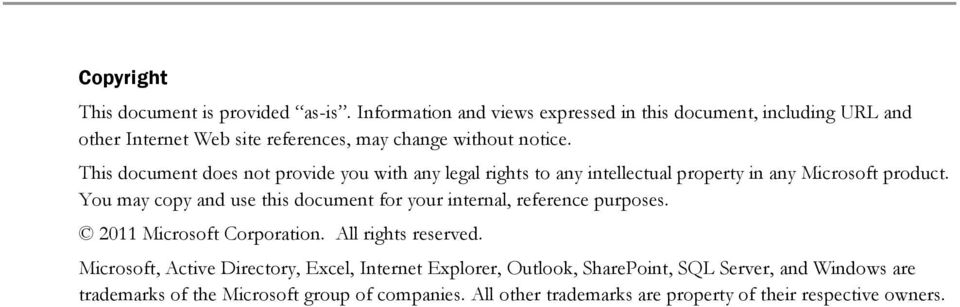 This document does not provide you with any legal rights to any intellectual property in any Microsoft product.