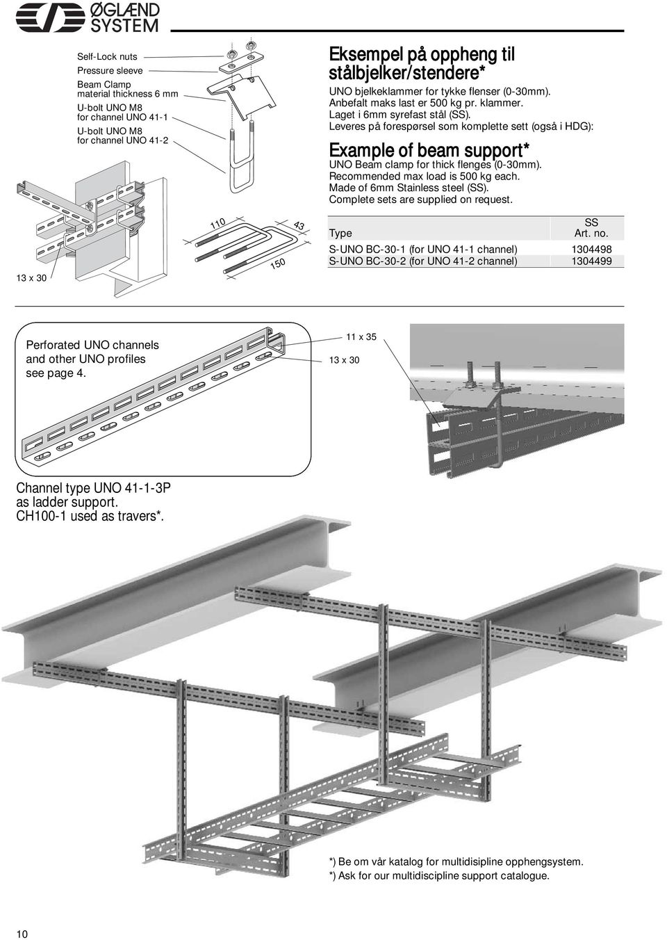 Leveres på forespørsel som komplette sett (også i HDG): Example of beam support* UNO Beam clamp for thick flenges (0-mm). Recommended max load is 500 kg each. Made of 6mm Stainless steel (SS).