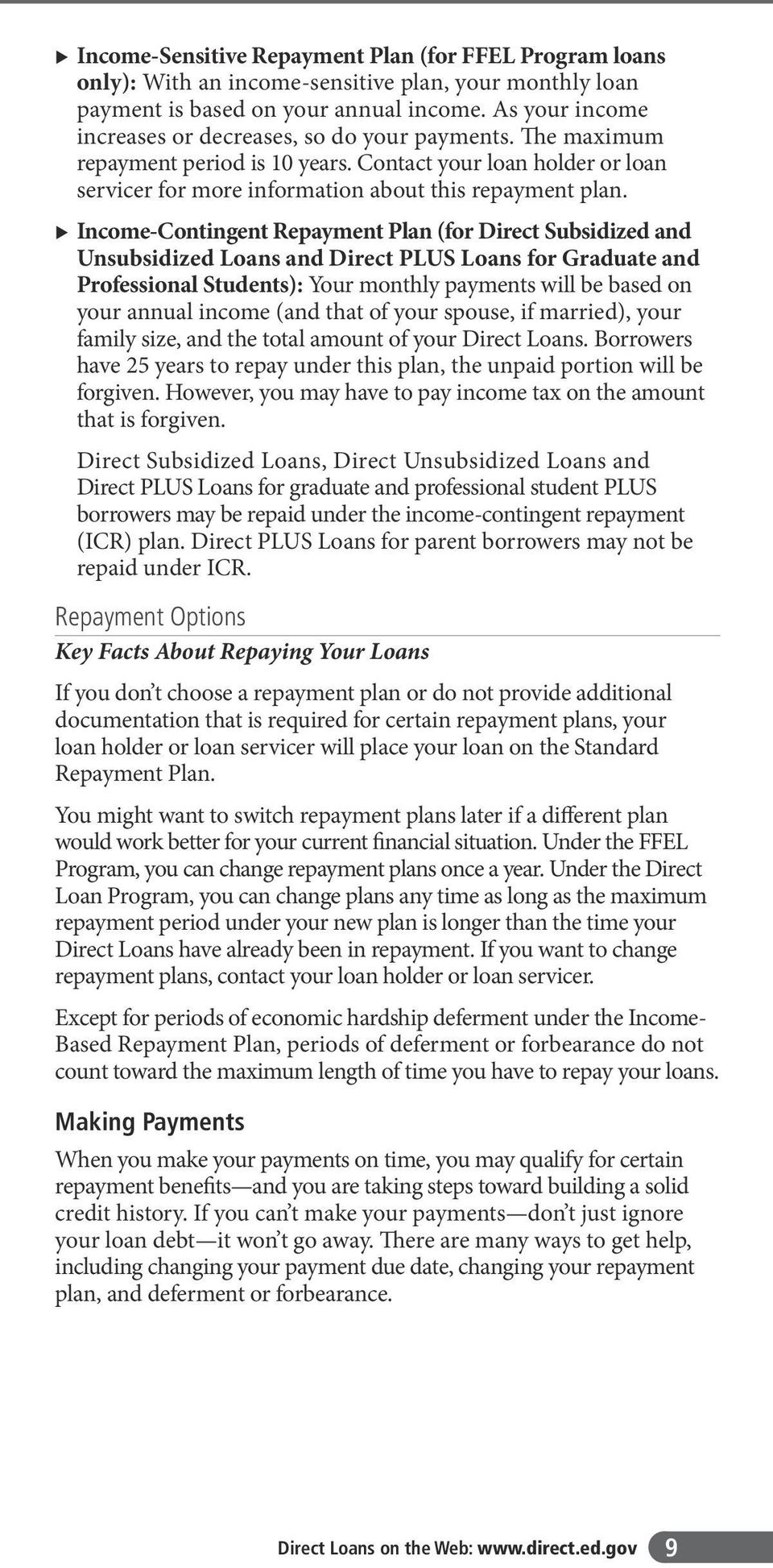 u Income-Contingent Repayment Plan (for Direct Subsidized and Unsubsidized Loans and Direct PLUS Loans for Graduate and Professional Students): Your monthly payments will be based on your annual