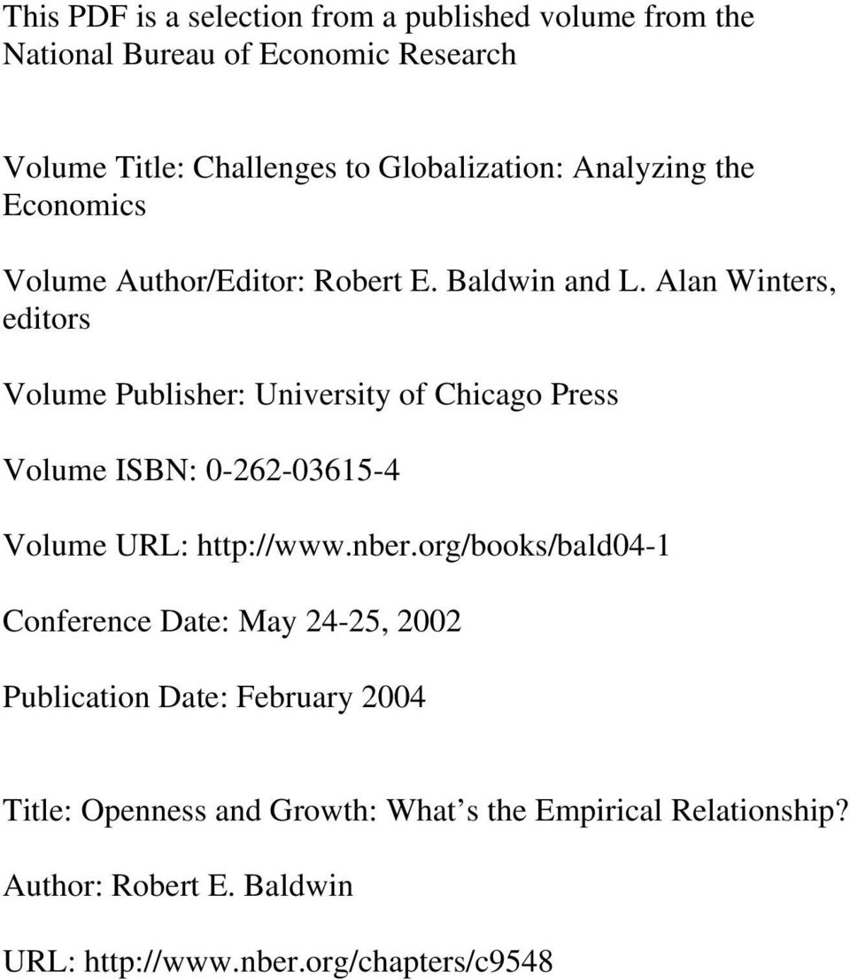 Alan Winters, editors Volume Publisher: University of Chicago Press Volume ISBN: 0-262-03615-4 Volume URL: http://www.nber.