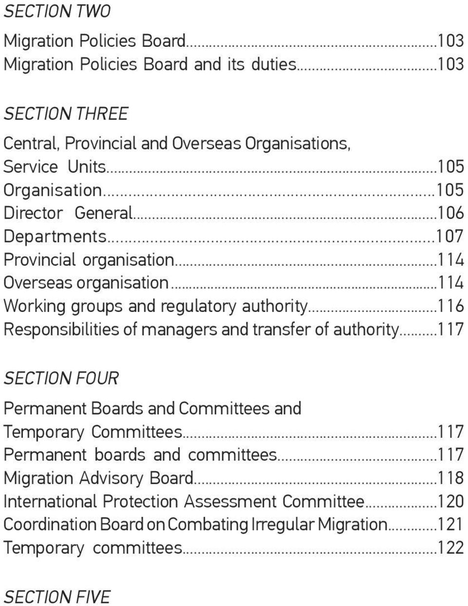 ..116 Responsibilities of managers and transfer of authority...117 SECTION FOUR Permanent Boards and Committees and Temporary Committees...117 Permanent boards and committees.