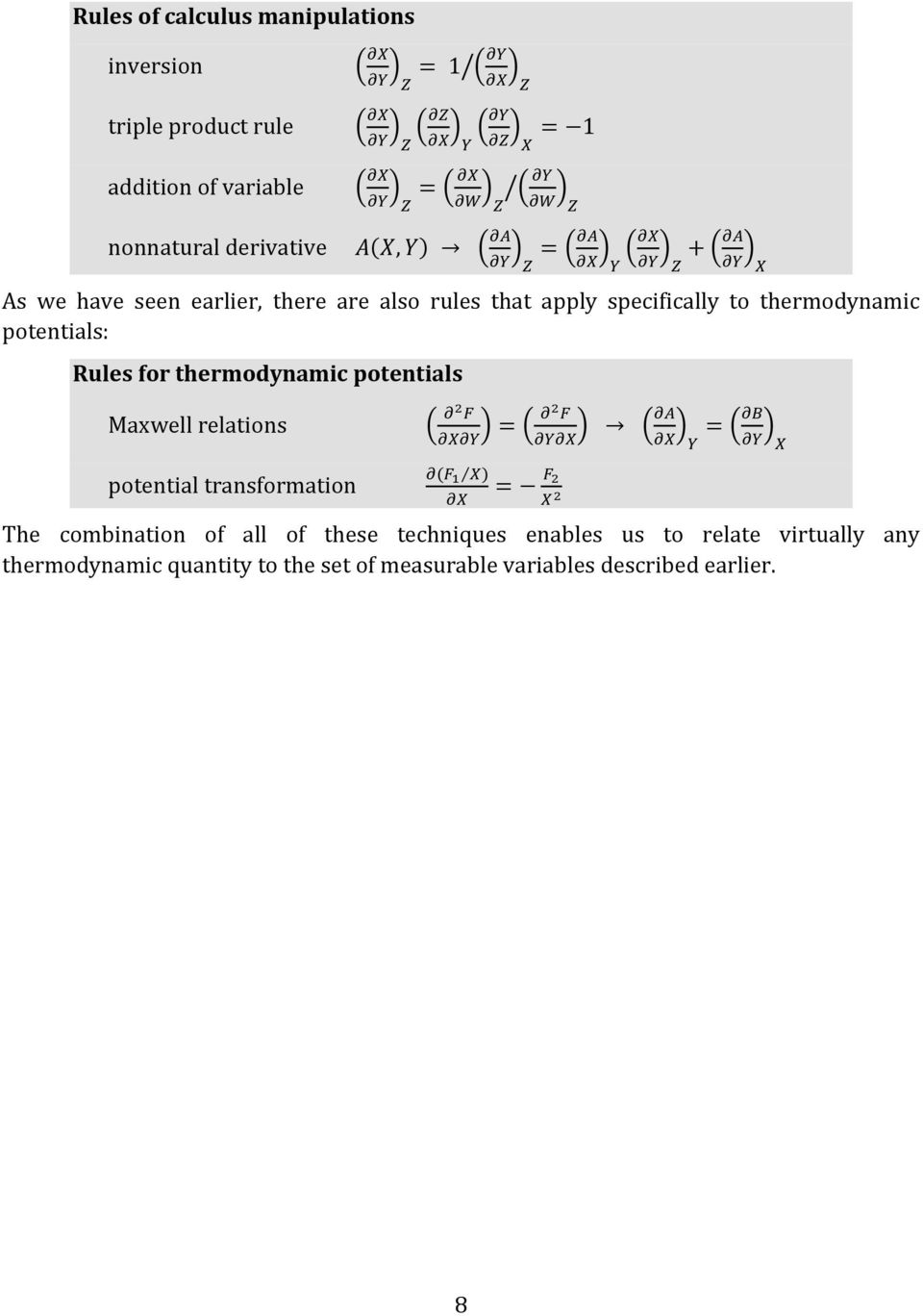 thermodynamic potentials Maxwell relations potential transformation The combination of all of these