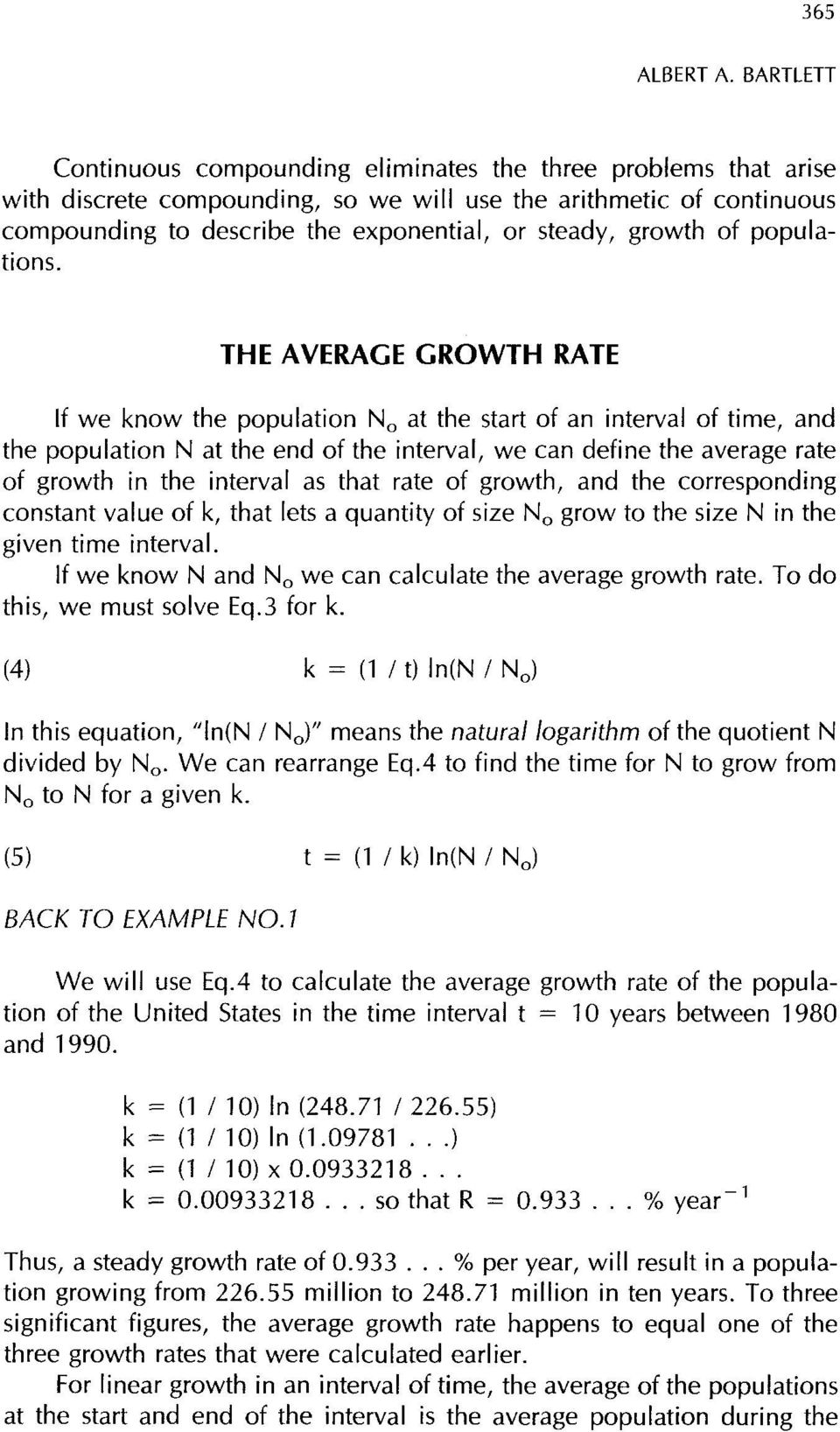 growth of populations.