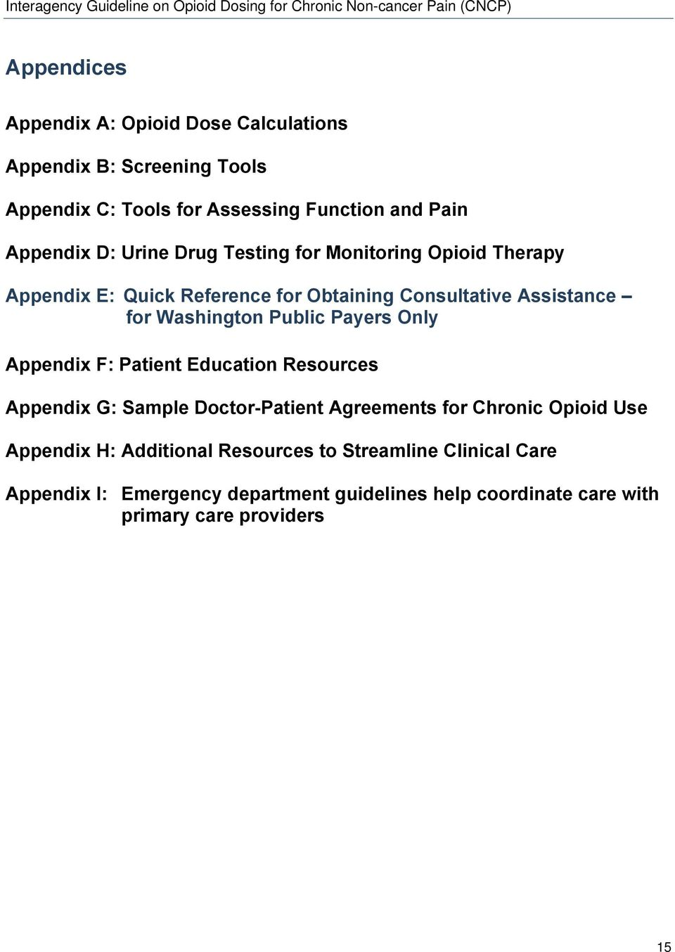 Payers Only Appendix F: Patient Education Resources Appendix G: Sample Doctor-Patient Agreements for Chronic Opioid Use Appendix H:
