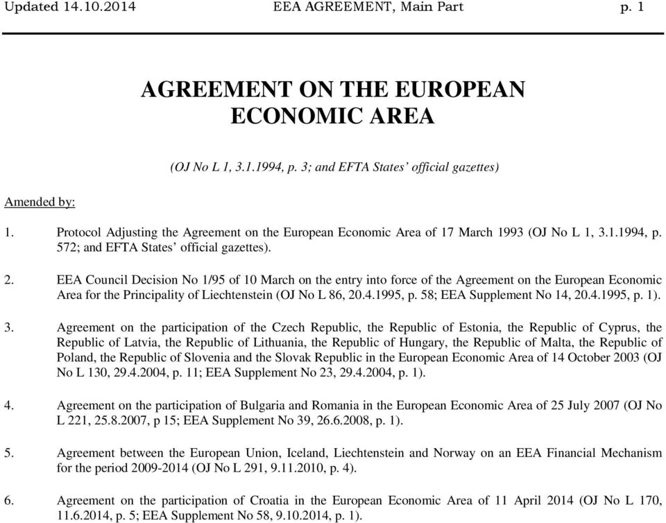 EEA Council Decision No 1/95 of 10 March on the entry into force of the Agreement on the European Economic Area for the Principality of Liechtenstein (OJ No L 86, 20.4.1995, p.