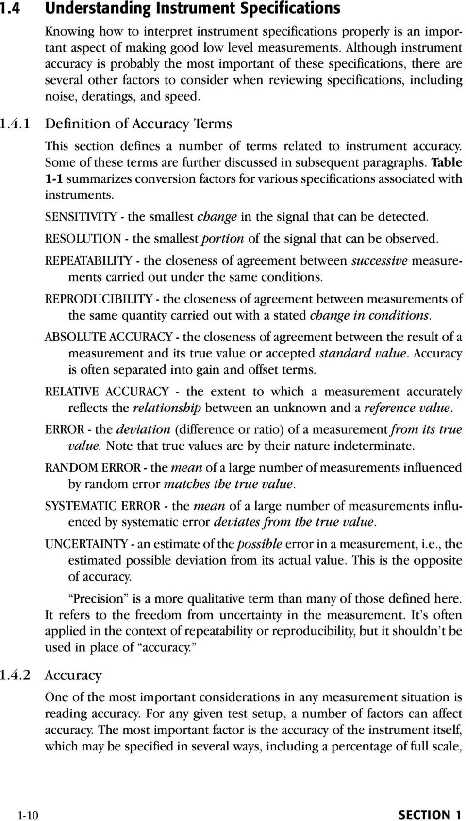 1.4.1 Definition of Accuracy Terms This section defines a number of terms related to instrument accuracy. Some of these terms are further discussed in subsequent paragraphs.