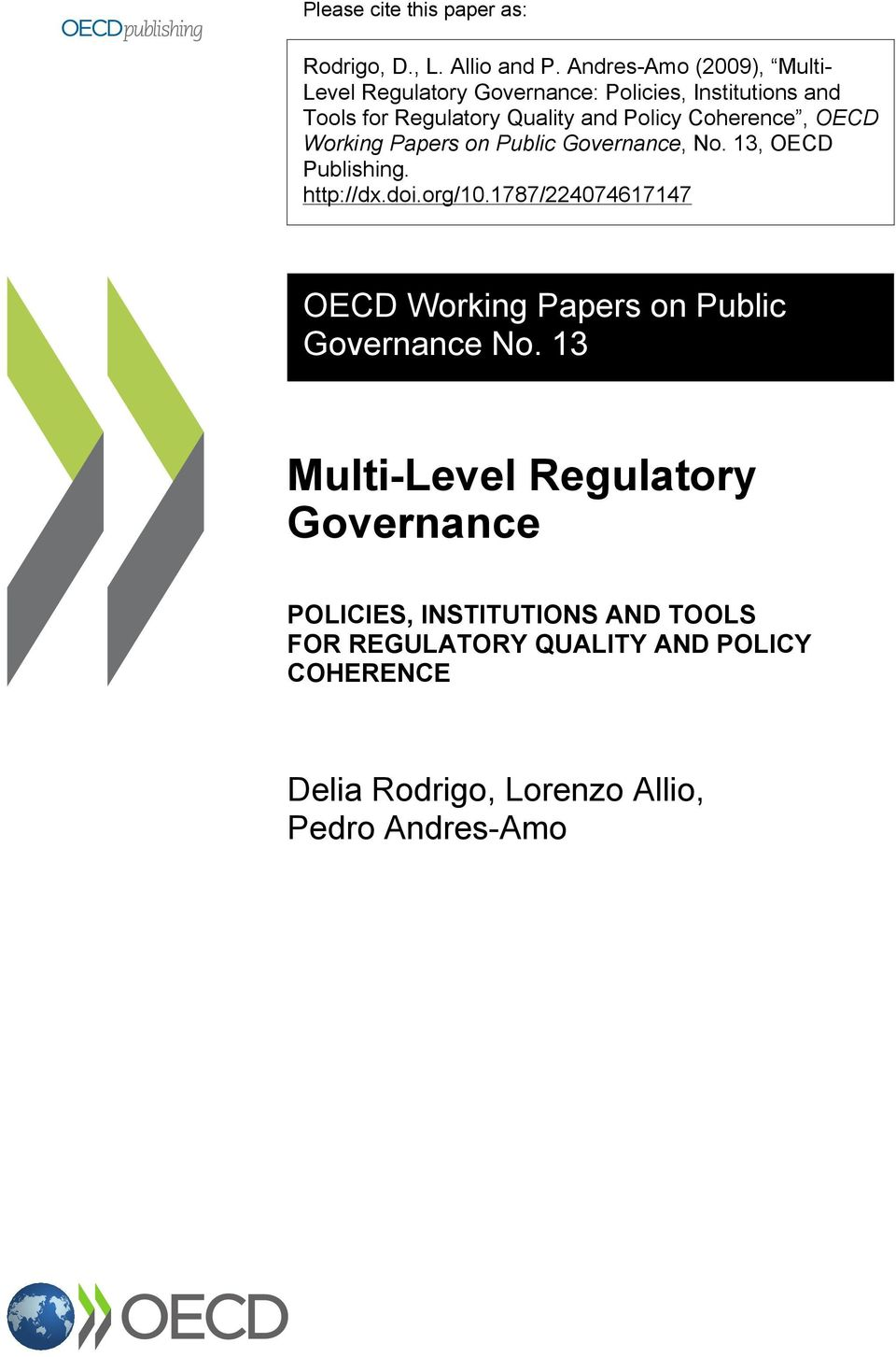 Coherence, OECD Working Papers on Public Governance, No. 13, OECD Publishing. http://dx.doi.org/10.