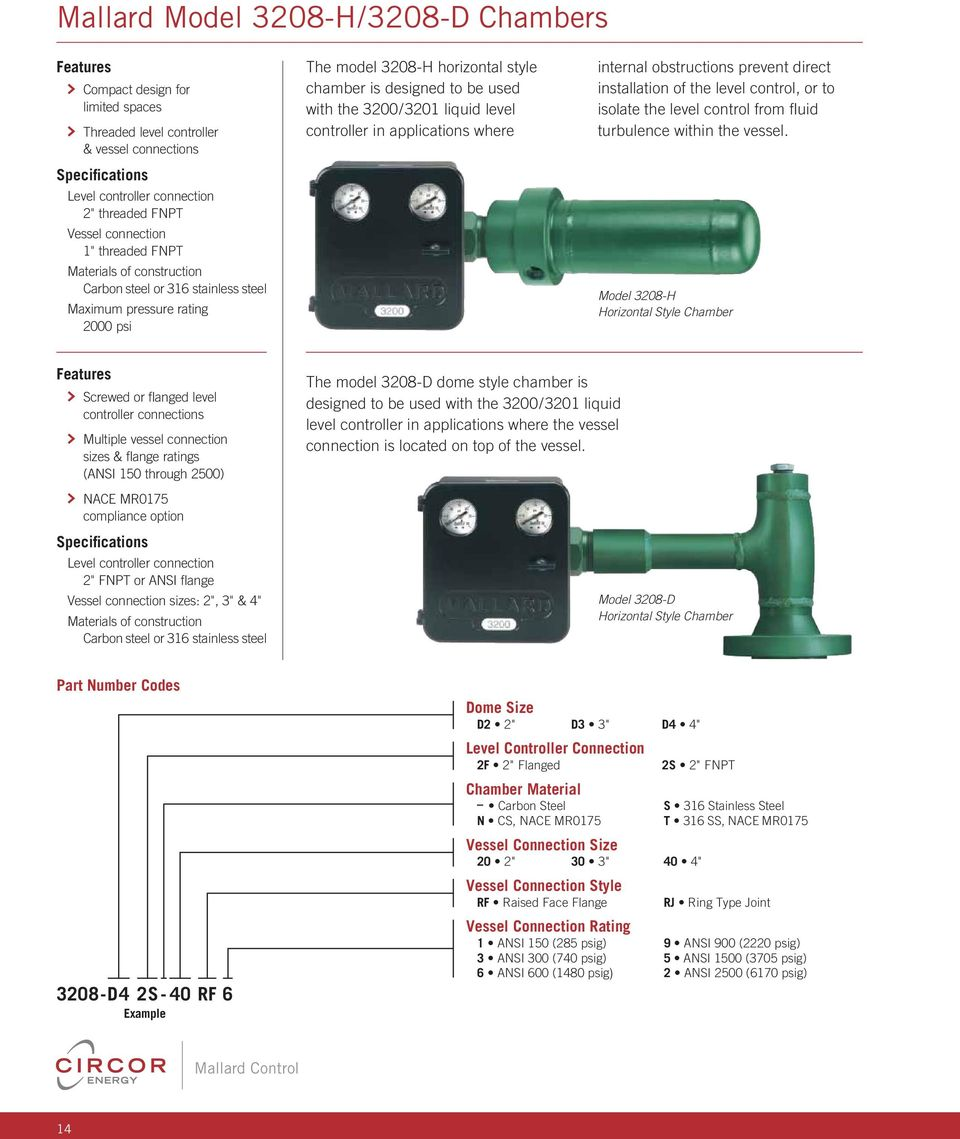 3200/3201 liquid level controller in applications where internal obstructions prevent direct installation of the level control, or to isolate the level control from fl uid turbulence within the