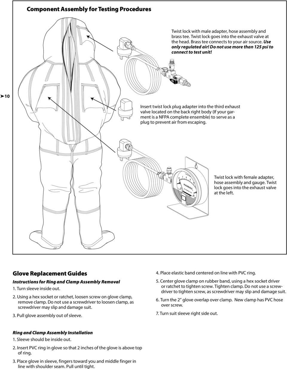 10 Insert twist lock plug adapter into the third exhaust valve located on the back right body (If your garment is a NFPA complete ensemble) to serve as a plug to prevent air from escaping.