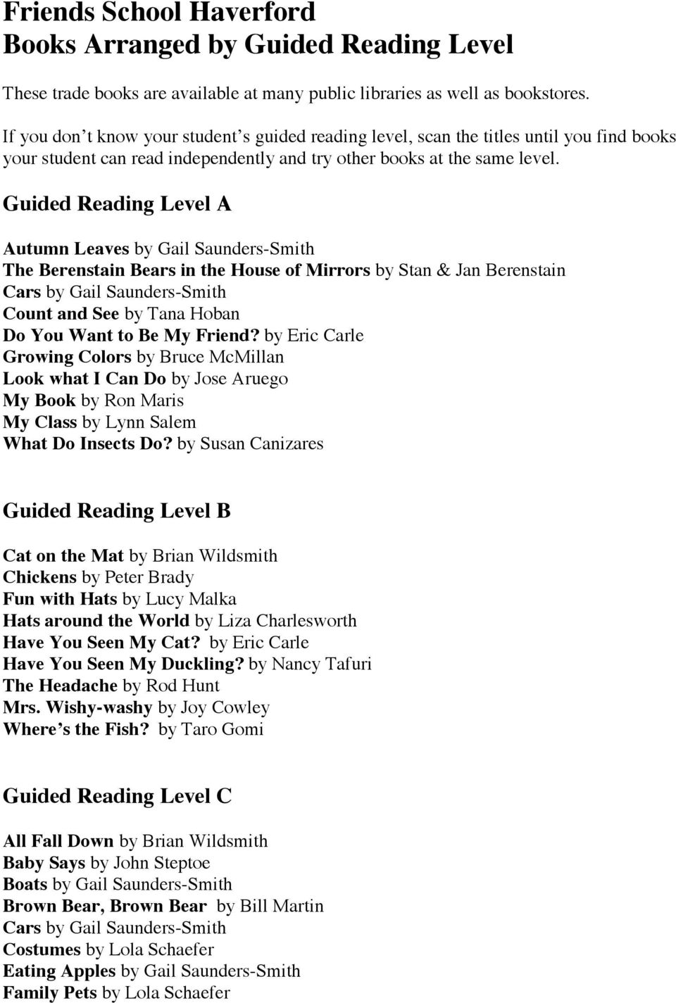Guided Reading Level A Autumn Leaves by Gail Saunders-Smith The Berenstain Bears in the House of Mirrors by Stan & Jan Berenstain Cars by Gail Saunders-Smith Count and See by Tana Hoban Do You Want