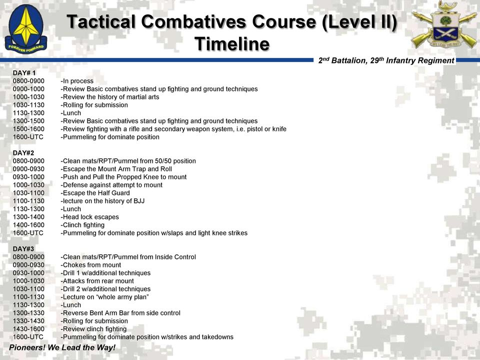 iew Basic combatives stand up fighting and ground techniques 1500-1600 -Review fighting with a rifle and secondary weapon system, i.e. pistol or knife 1600-UTC -Pummeling for dominate position DAY#2