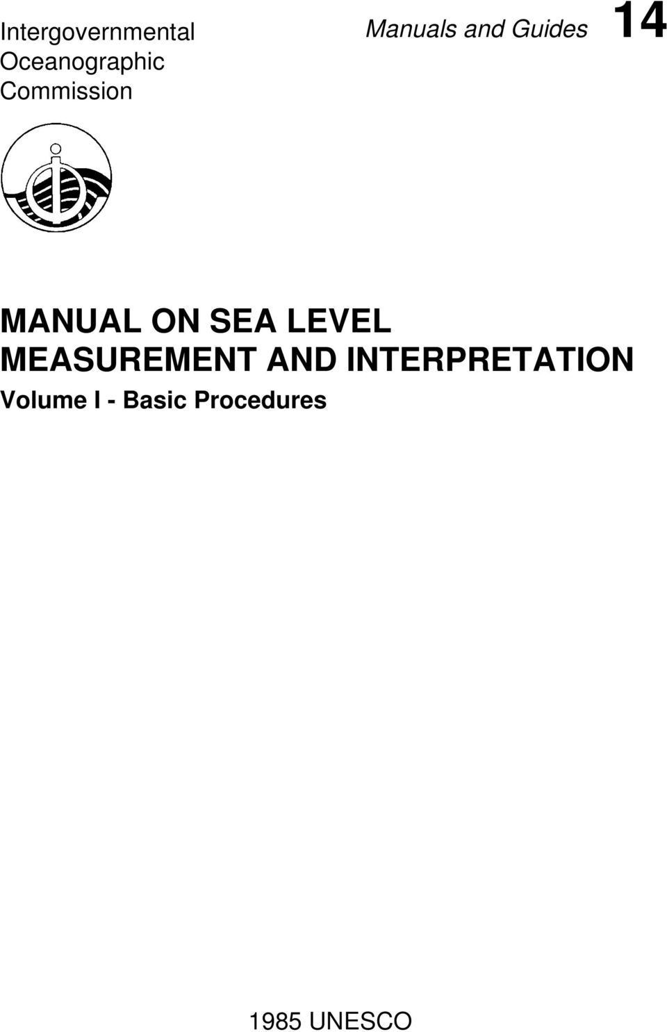MANUAL ON SEA LEVEL MEASUREMENT AND