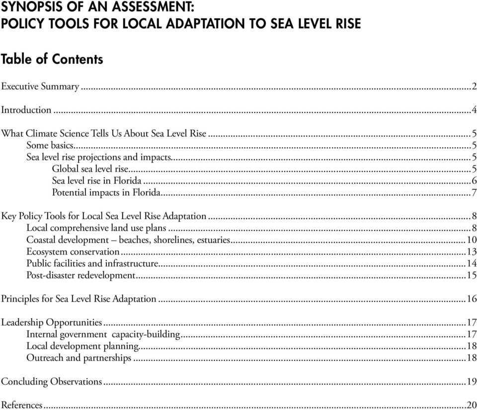 ..7 Key Policy Tools for Local Sea Level Rise Adaptation...8 Local comprehensive land use plans...8 Coastal development beaches, shorelines, estuaries...10 Ecosystem conservation.