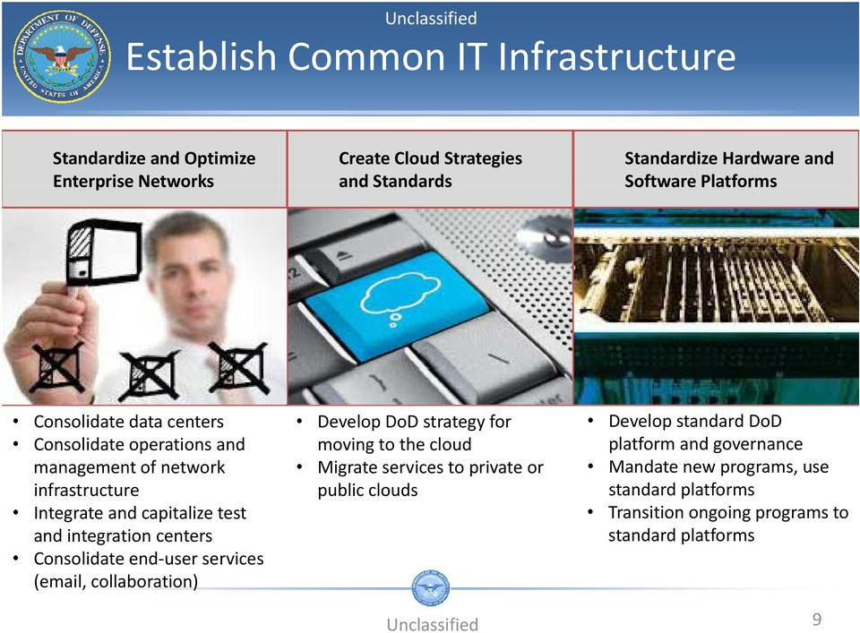integration centers Consolidate end user services (email, collaboration) Develop DoD strategy for moving to the cloud Migrate services to private