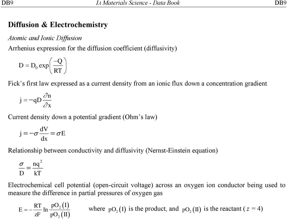 dv dx E Relationship between conductivity and diffusivity (Nernst-Einstein equation) 2 nq D kt Electrochemical cell potential (open-circuit voltage) across an oxygen ion