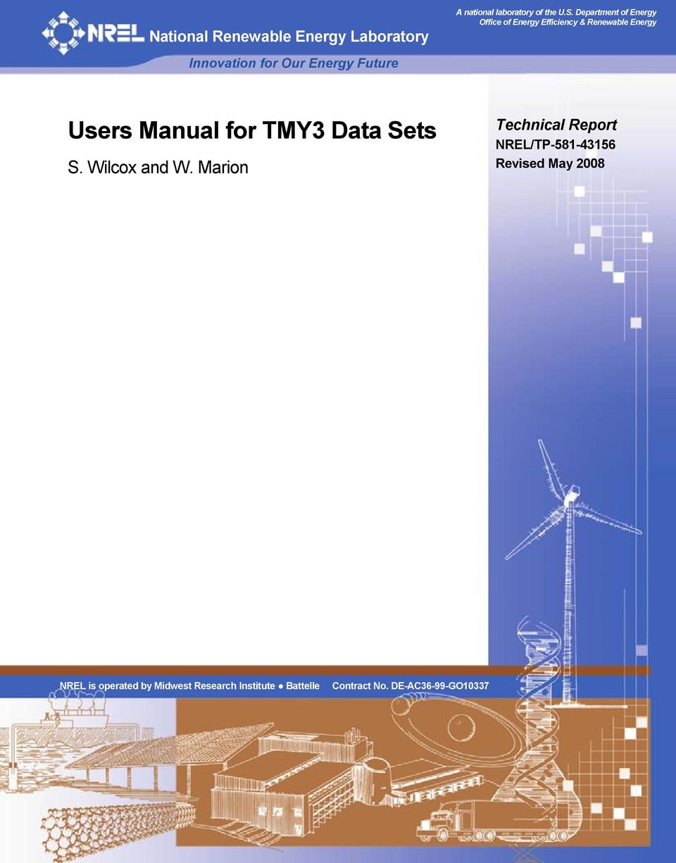Department of Energy Office of Energy Efficiency & Renewable Energy Users Manual for TMY3