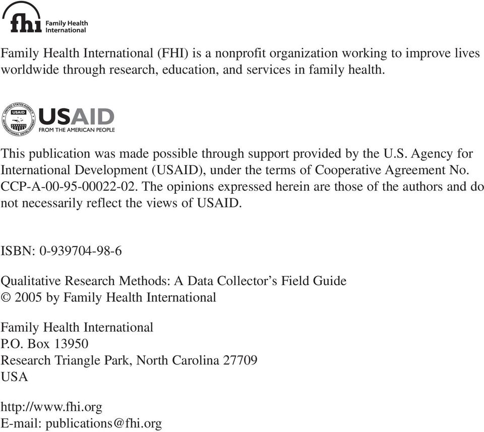 CCP-A-00-95-00022-02. The opinions expressed herein are those of the authors and do not necessarily reflect the views of USAID.