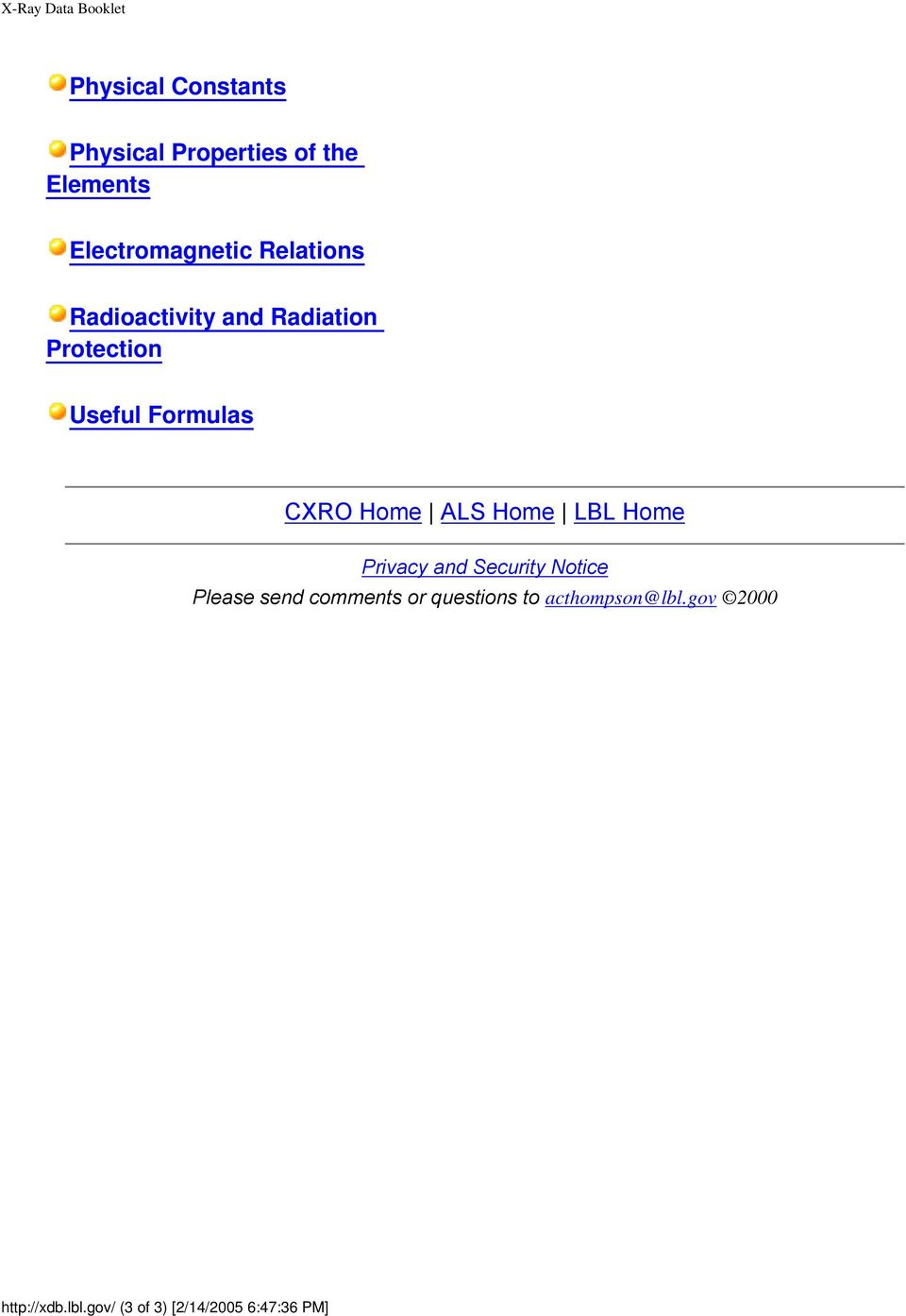 CXRO Home ALS Home LBL Home Privacy and Security Notice Please send comments or