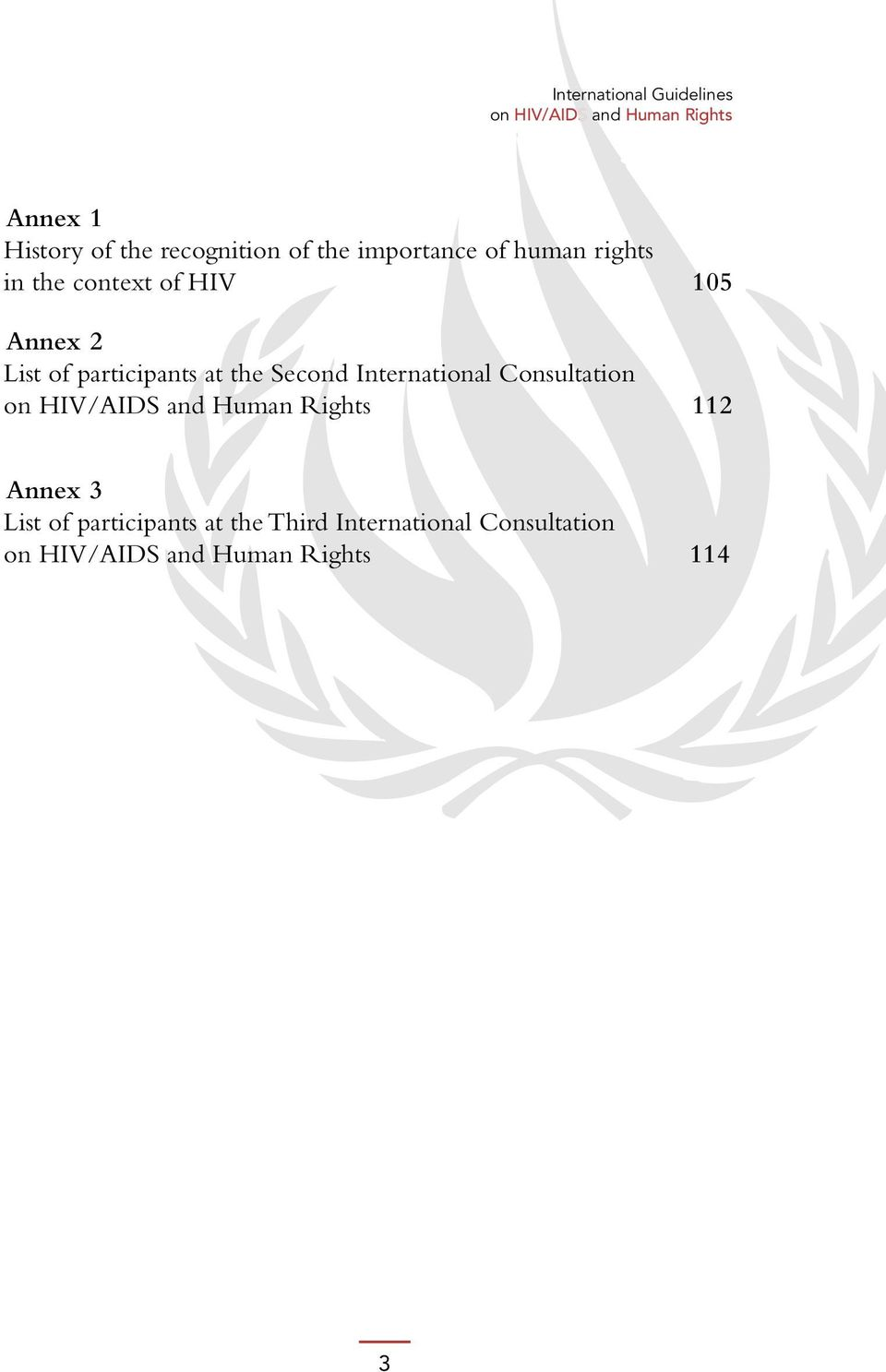 at the Second International Consultation on HIV/AIDS and Human Rights 112 Annex 3 List