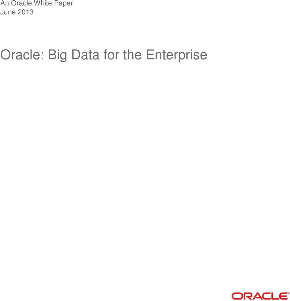 Oracle: Big Data