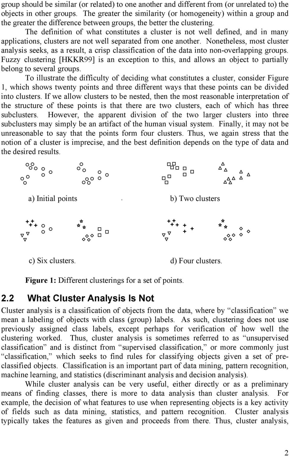 The definition of what constitutes a cluster is not well defined, and in many applications, clusters are not well separated from one another.