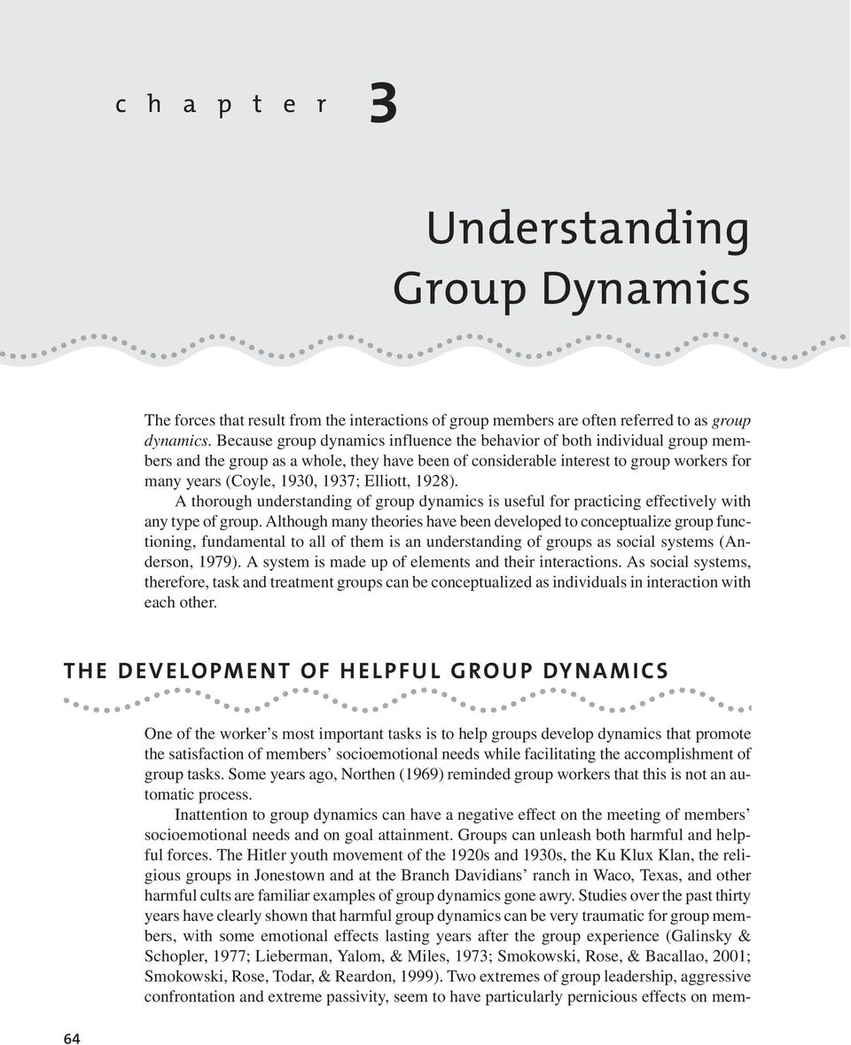 Elliott, 1928). A thorough understanding of group dynamics is useful for practicing effectively with any type of group.