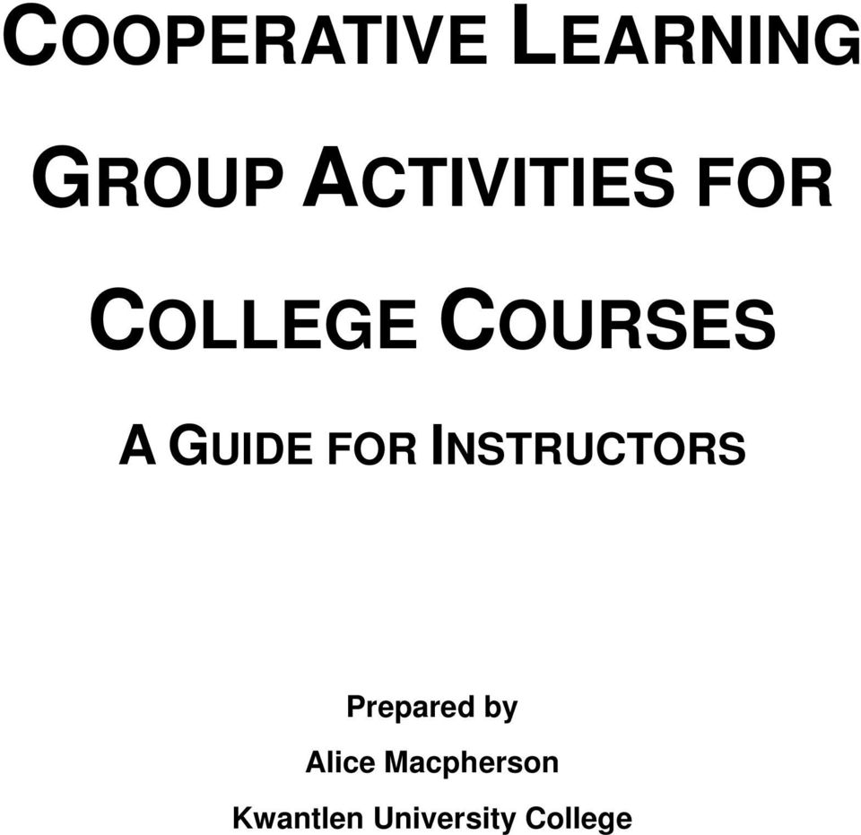 GUIDE FOR INSTRUCTORS Prepared by